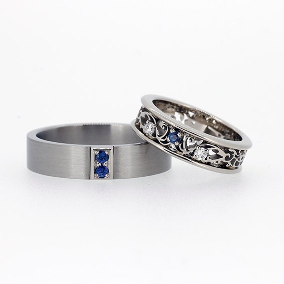 Blue sapphire wedding ring set filigree wedding ring blue