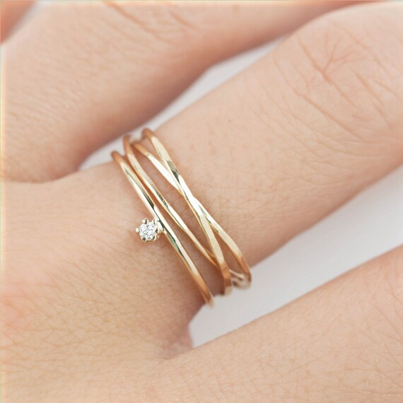 Simple Engagement Ring Set 14k Solid Gold Tiny Diamond Ring U0026