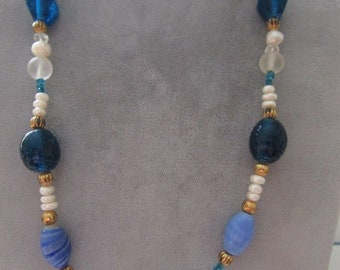 "One  18"" Beaded Necklace in Blues and White"