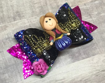 Anna Frozen Glitter Faux Leather Hair Bow or Headband