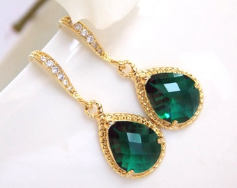 Wedding Jewelry, Emerald Green Earrings, Green, Dark Green, Gold,Cubic Zirconia, Wedding Gifts, Bridesmaids Gifts,Bridesmaid Earrings,Drop
