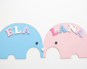 Baby Elephant decor for nursery - Set of two personalized name plaques - wood letters - Custom Xmas gift for sisters - jungle theme nursery