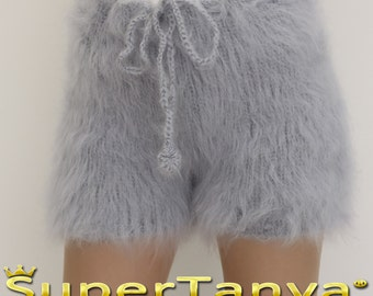 Made to order hand knit shorts, thick and fuzzy mohair short pants in light gray gray by SuperTanya