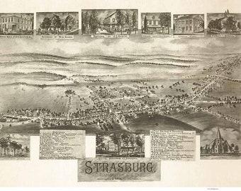 Strasburg Pennsylvania -1903 - Birds Eye View Reprint