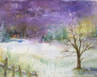 Original Watercolor * WINTER TREE At Sunset * Art by Rodriguez * Snow Winter Scene * Small Art Format