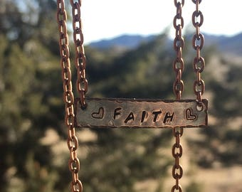 Copper Stamped Faith Necklace