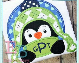 Penguin Peeker Applique - This design is to be used on an embroidery machine. Instant Download