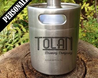 Keg Beer Growler with Custom design, growler, groomsmen, engraved, Home Brew, personalized, wedding, laser engraved, home brew