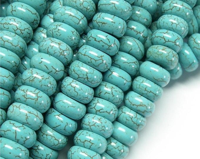 TQSYN-RN12 - Turquoise (Syn), Rondelle 7x12mm - 8 Inch Strand