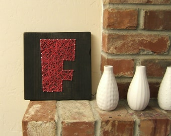 Modern String Art Wooden Tablet - Chunk Pink F on Ebony Stain (Made to Order)