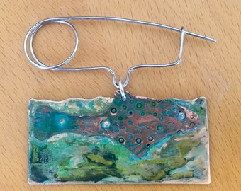 Canemah Studios Patinated Bronze,Copper and Stainless Steel Fish Fibula Brooch