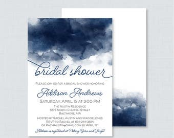 Navy Watercolor Bridal Shower Invitation Printable or Printed - Watercolor Bridal Shower Invites, Navy Blue and White Bridal Shower 0030-N
