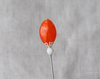 Orange Stick Pin, Pressed Glass, Vintage Glass Bead, Orange, White, 3 Inch Stick Pin, Silver Tone, Hat Pin, Lapel Pin, Hijab Pin H0384
