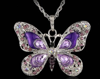 BUTTERFLY NECKLACE with Purple Crystals