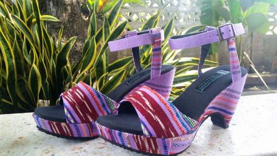 Woven Chelsea Purple Wedge Cut Karen FREE Hand In Vegan Womens Out Shipping Heel Sandals Textiles Fwn8TC