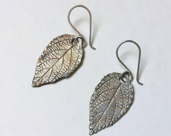 new artisan sterling leaf earrings, lantana
