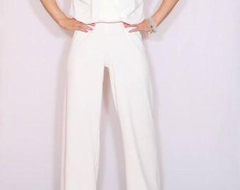 White jumpsuit / Wrap top wedding jumpsuit / Sleeveless jumpsuit