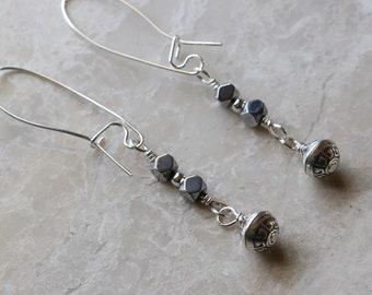 Hematite - Faceted Cube - Oxidized - Bali Style - Bead - Sterling Silver - .925 - Kidney Wire - Drop - Dangle - Boho - Earrings