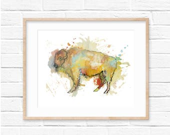 Buffalo Print, Bison Print, Watercolor Buffalo, Nursery Decor, Watercolor Print, Rustic, Buffalo Wall Art, Animal Print, Buffalo Nursery