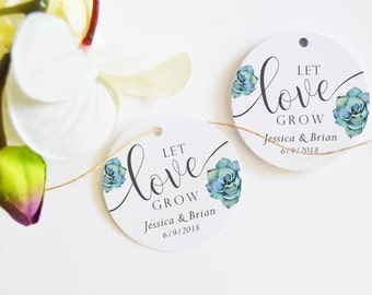 Succulent Favor Tags, Let Love Grow Tags, (24) Wedding Favor Tags, Floral Tags, Personalised Favor Tags