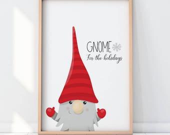 Gnome printable, Christmas wall art, gnome print,  digital poster, gnome download art, illustration - WA254