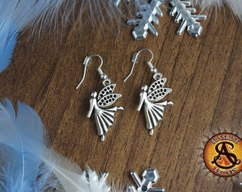 Angel earrings, dangle earrings, Christmas gift, Xmas fairy, dancing angel, Tibetan silver charms, silver plated or surgical steel ear wires
