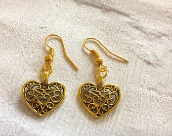 Gold Heart Earrings, Gold Earrings, Heart Earrings, Lattice Heart Earrings, Gold Drop Earrings, Heart Earrings, Wedding Jewellery.