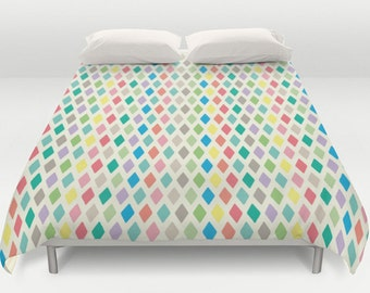 Geometric Duvet Cover, Geometric Bedding, King Queen Full Twin, Size, Pattern Comforter, Colorful Bed Cover, Spring Duvets, Pastels
