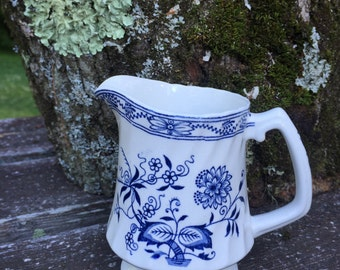 Staffordshire England Blue Fjord ironstone creamer by Wood & Sons.