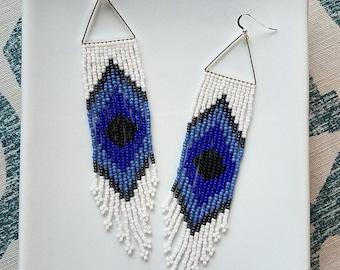 Evil Eye. Handwoven Seed Bead Fringe Earrings.