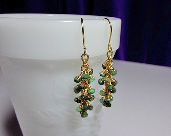Tiny Emerald Cluster Drop Gold Earrings, St Patrick Valentines Mothers Day Gift, Mom Sister Bridesmaid Jewelry, Gemstone Birthstone