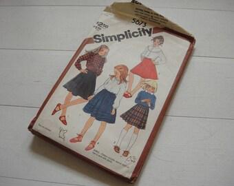 """Simplicity 5673, Skirt Pattern, Tiered Skirt, Pleated Skirt, Flared Skirt, Circa 1970, Waist 23"""""""