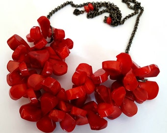 Natural red coral cluster gemstone necklace