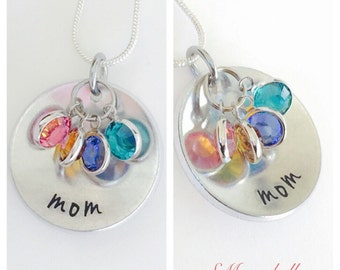 Mother's Day gift , special - mom pendant  necklace with Swarovski Birthstones- Mothers necklace - family necklace - childrens necklace