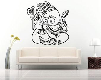 Wall Decal Sticker Ganesha Ganesh Indian God Om Elephant Hindu Success Buddha India Hindu Welfare Bedroom Meditation Yoga Room Decor ZX544