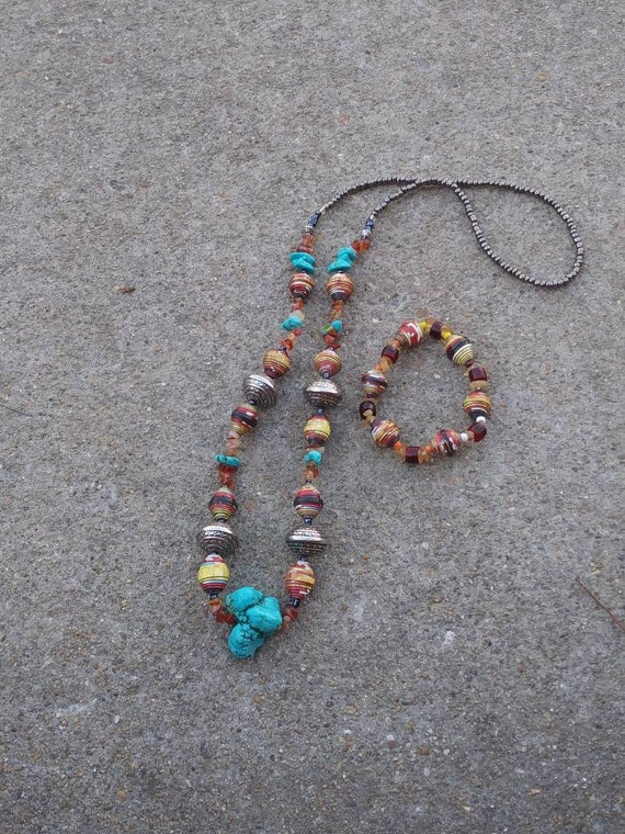 Boho/ western turquoise and paperbead necklace/ silver/ red