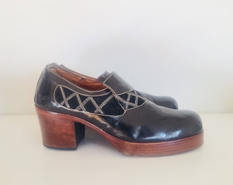 70s Black Patent Leather Platform Shoes Size 9 40 41 Made in Italy