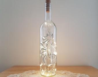 Bottle Light Kit - Horse Head, Bottle Lamp, Unusual Gift, Trendy Lighting, Lit Bottle Kit, Craft Kit, Upcycled bottle, Crafty Creases