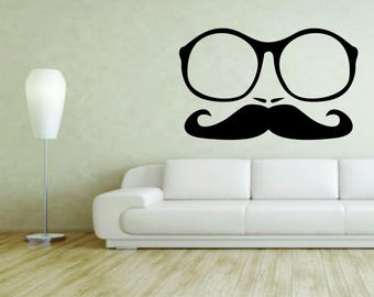 Wall Mural Vinyl Decal Sticker Decor Nerd Computer Genius Glasses Mustache G10