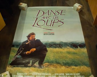 DANCES WITH WOLVES (1990) Kevin Costner Very Rare 4 x 6 ft french Grande Rolled Giant Movie Poster Original Vintage Collectible