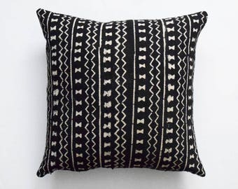 """Authentic Mudcloth Pillow Cover, Double sided mud cloth pillow cover, Tribal Pillow Cover for 20"""" x 20"""" Pillow Inserts - Made to order"""
