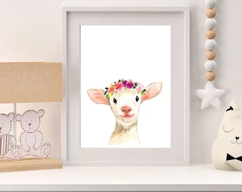 Nursery Wall Art Animals - Baby Lamb Wall Art Print - Nursery Farmland Theme - Nursery Wall Art Watercolor - Baby Animals Nursery Wall Decor