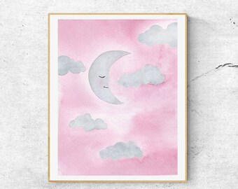 Pink Sleepy Moon Art, Nursery Watercolor Art, Watercolor Print, Nursery Wall Art, Goodnight Moon Art, Nursery Decor, Moon Art Print