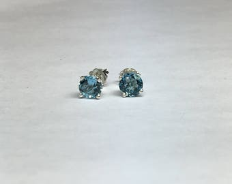 London Blue Topaz Earrings, Stud Earrings, 2.00 ct., London Blue Topaz, Sterling Silver, Gold, 4 Prong Setting, Antique Setting, Bridesmaids