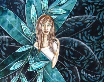 Secret garden, home decor, gift for her, shellieartist, unique artwork, original art, mixed medium, forest leaves, teal and blue