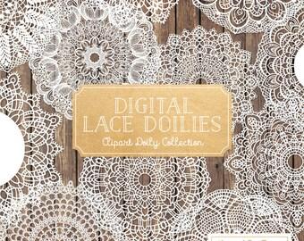 Premium Large White Lace Doily Vectors - Doily Clipart Images, Digital Vector Doilies, White Clipart Doily
