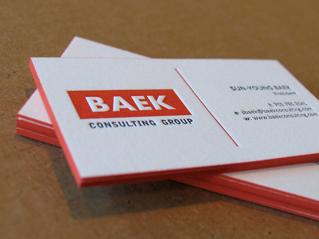 Letterpress business cards 2 colours 1 side color edges request a custom order and have something made just for you reheart Image collections