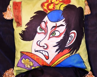 Handpainted Vintage Japanese Kabuki Pillow