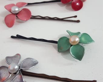 Flower Bobby pins, handmade