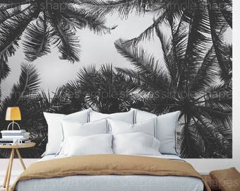 Palm Tree Photograph, Peel and Stick Oversize Wall Poster, Large Wall Art, Nature Photography, Desert Art, Fabric Wall Sticker, Wa...